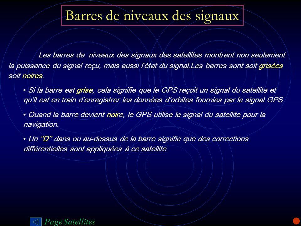 Barres de niveaux des signaux Les barres de niveaux des signaux des satellites montrent non seulement la puissance du signal reçu, mais aussi létat du