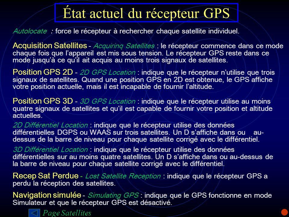 État actuel du récepteur GPS Autolocate : force le récepteur à rechercher chaque satellite individuel. Acquisition Satellites - Acquirinq Satellites :