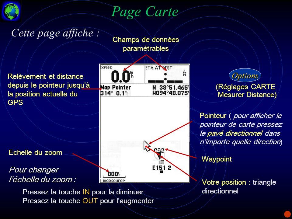 Page Carte Champs de données paramétrables Relèvement et distance depuis le pointeur jusquà la position actuelle du GPS Echelle du zoom Pour changer l