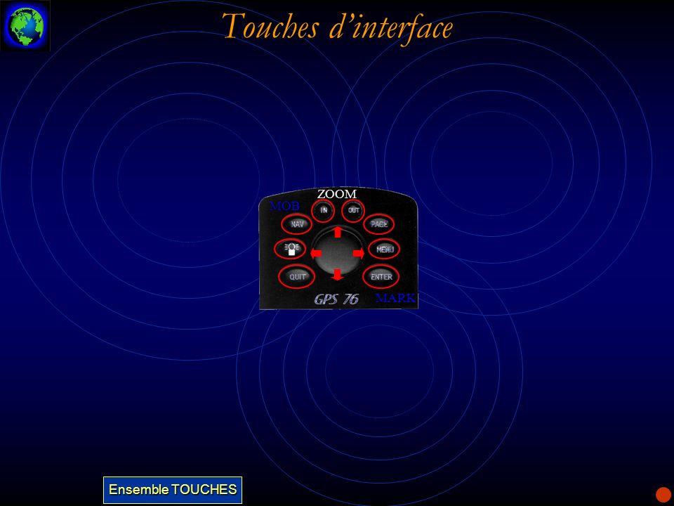 Touches dinterface La touche IN est utilisée pour diminuer léchelle de la carte.