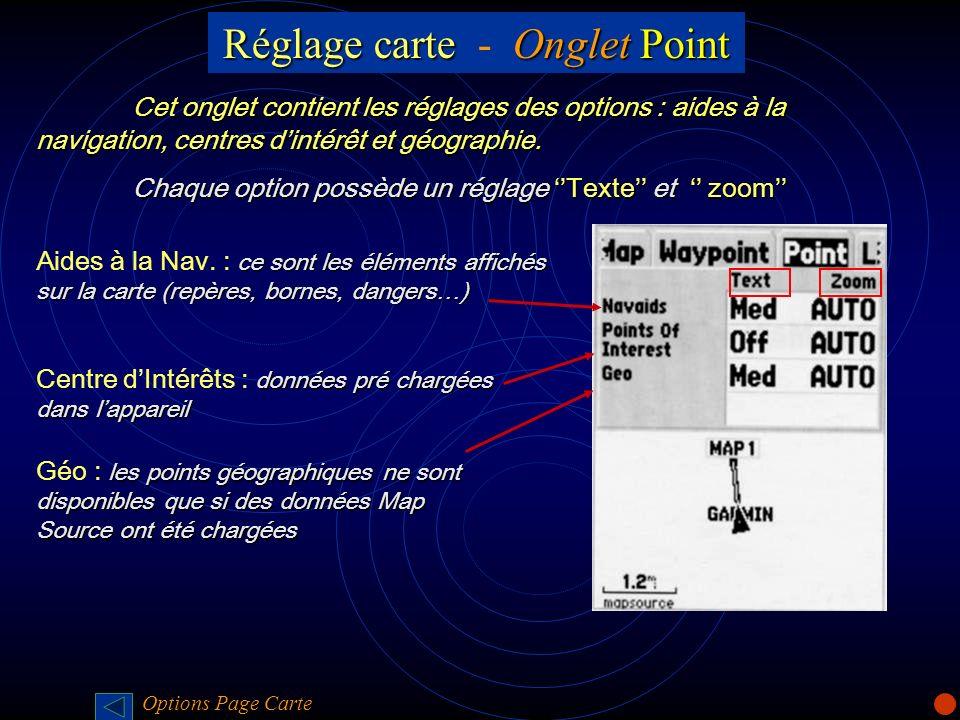 Réglage carteOnglet Point Réglage carte - Onglet Point Cet onglet contient les réglages des options : aides à la navigation, centres dintérêt et géogr