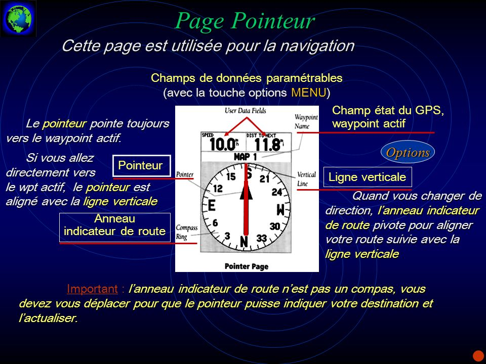 Page Pointeur Cette page est utilisée pour la navigation (avec la touche options MENU) Champs de données paramétrables (avec la touche options MENU) C