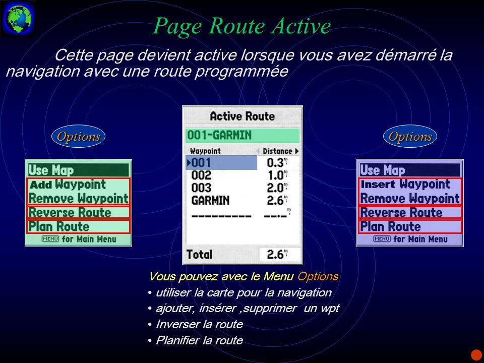 Page Route Active Cette page devient active lorsque vous avez démarré la navigation avec une route programmée Vous pouvez avec le Menu Options utilise