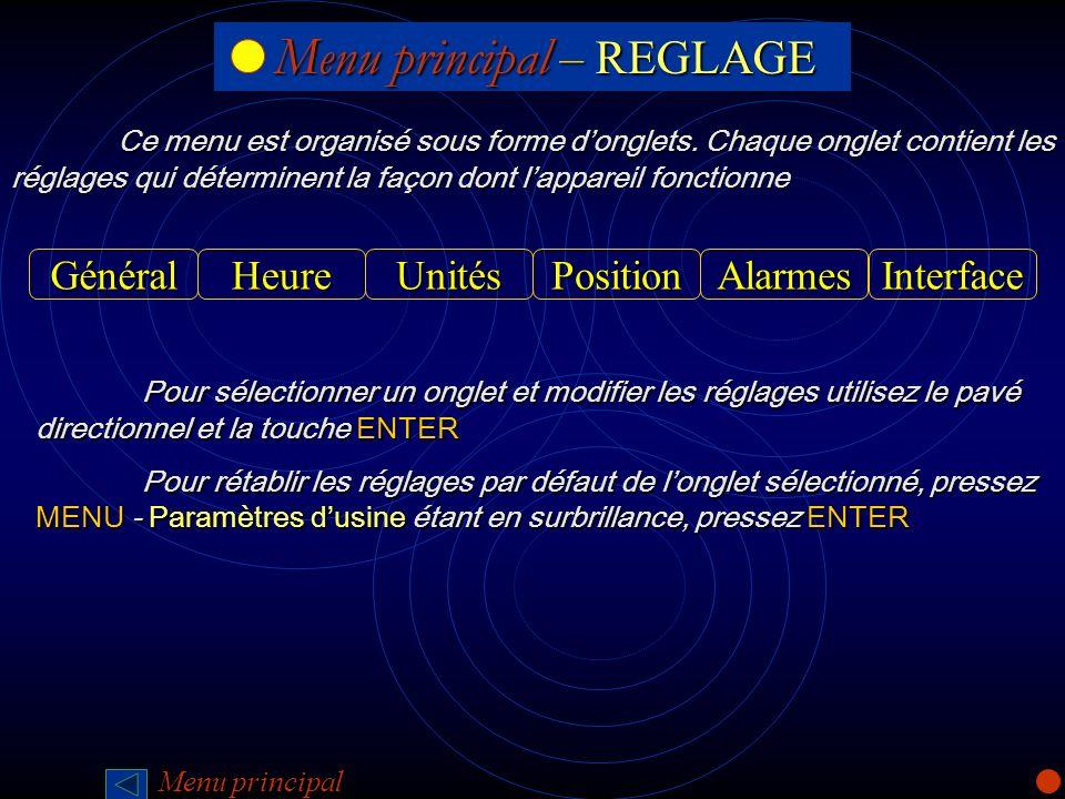 Menu principal – REGLAGE Menu principal – REGLAGE Ce menu est organisé sous forme donglets. Chaque onglet contient les réglages qui déterminent la faç