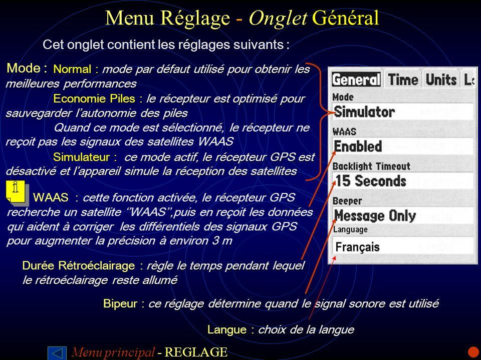 Réglage Onglet Général Menu Réglage - Onglet Général Cet onglet contient les réglages suivants : mode par défaut utilisé pour obtenir les meilleures p