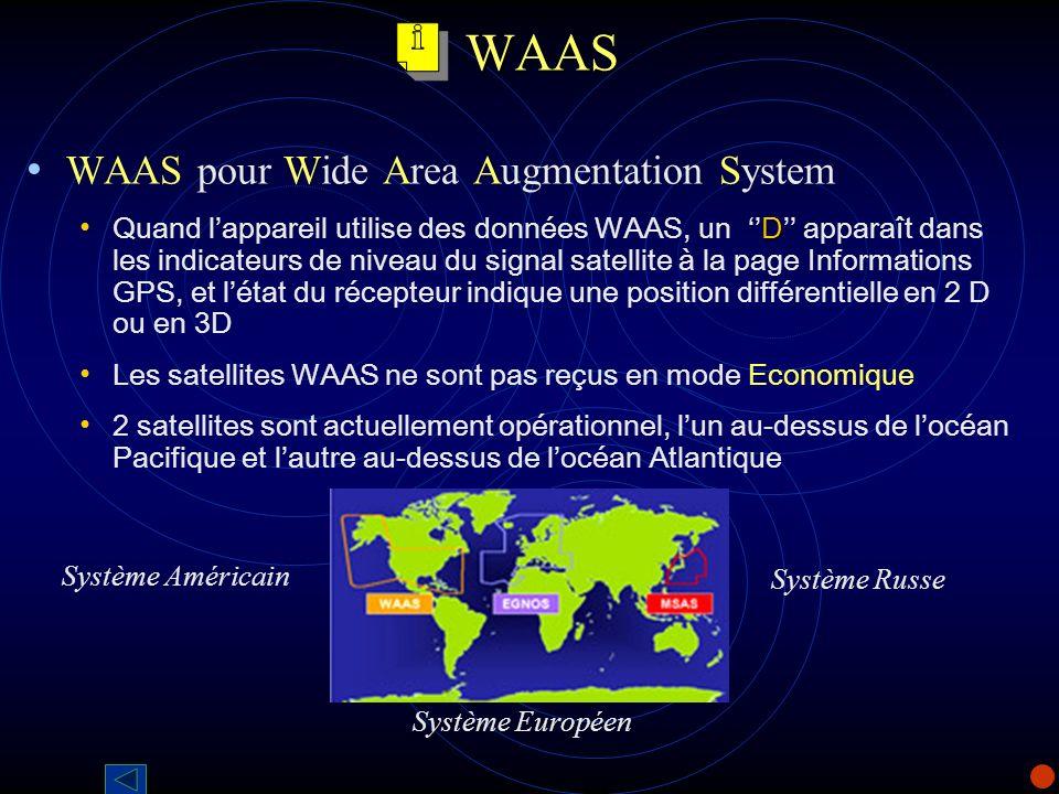 WAAS WAAS pour Wide Area Augmentation System D Quand lappareil utilise des données WAAS, un D apparaît dans les indicateurs de niveau du signal satell