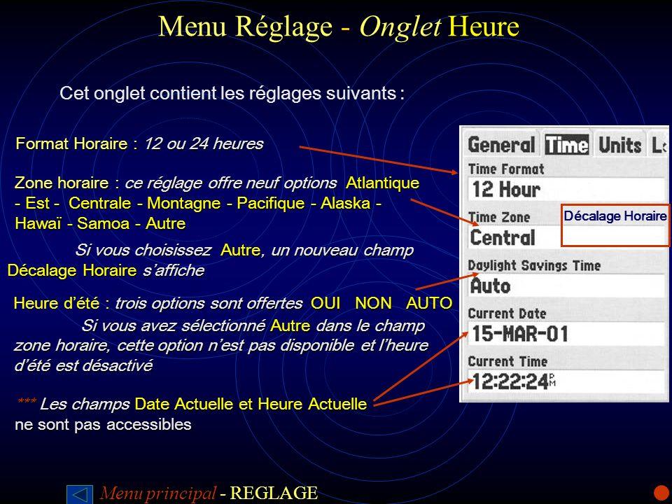 Menu Réglage -Onglet Heure Menu Réglage - Onglet Heure Cet onglet contient les réglages suivants : Format Horaire : 12 ou 24 heures Zone horaire : ce