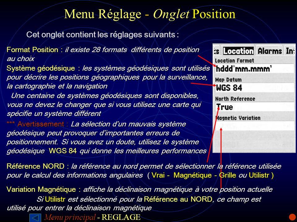 Menu Réglage -Onglet Position Menu Réglage - Onglet Position Cet onglet contient les réglages suivants : Format Position : il existe 28 formats différ