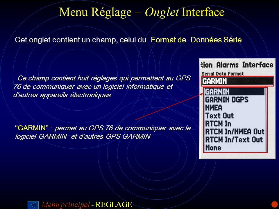 Menu Réglage –Onglet Interface Menu Réglage – Onglet Interface Cet onglet contient un champ, celui du Cet onglet contient un champ, celui du Format de