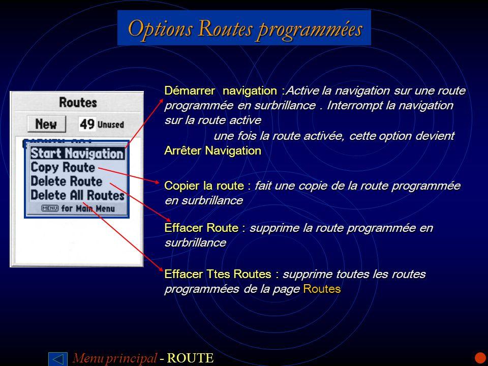 Options Routes programmées Démarrer navigation :Active la navigation sur une route programmée en surbrillance. Interrompt la navigation sur la route a