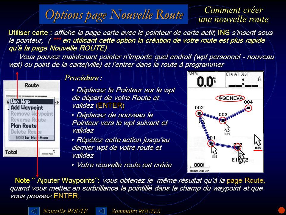 Options page Nouvelle Route Utiliser carte : affiche la page carte avec le pointeur de carte actif, INS sinscrit sous le pointeur, ( *** Utiliser cart