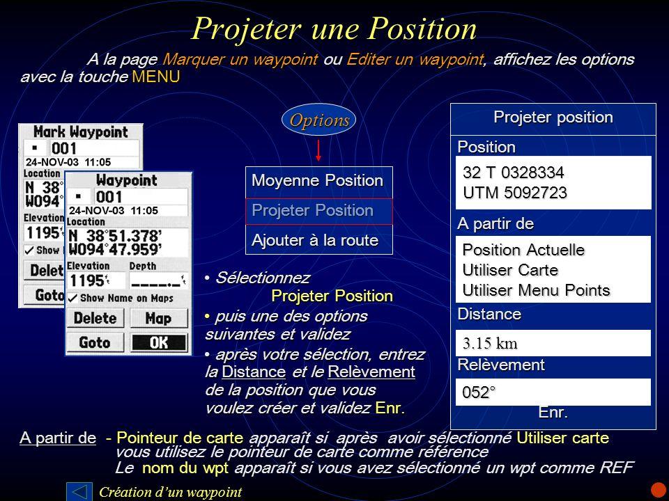 Projeter une Position Moyenne Position Projeter Position Ajouter à la route Projeter position Position A partir de DistanceRelèvementEnr. 32 T 0328334