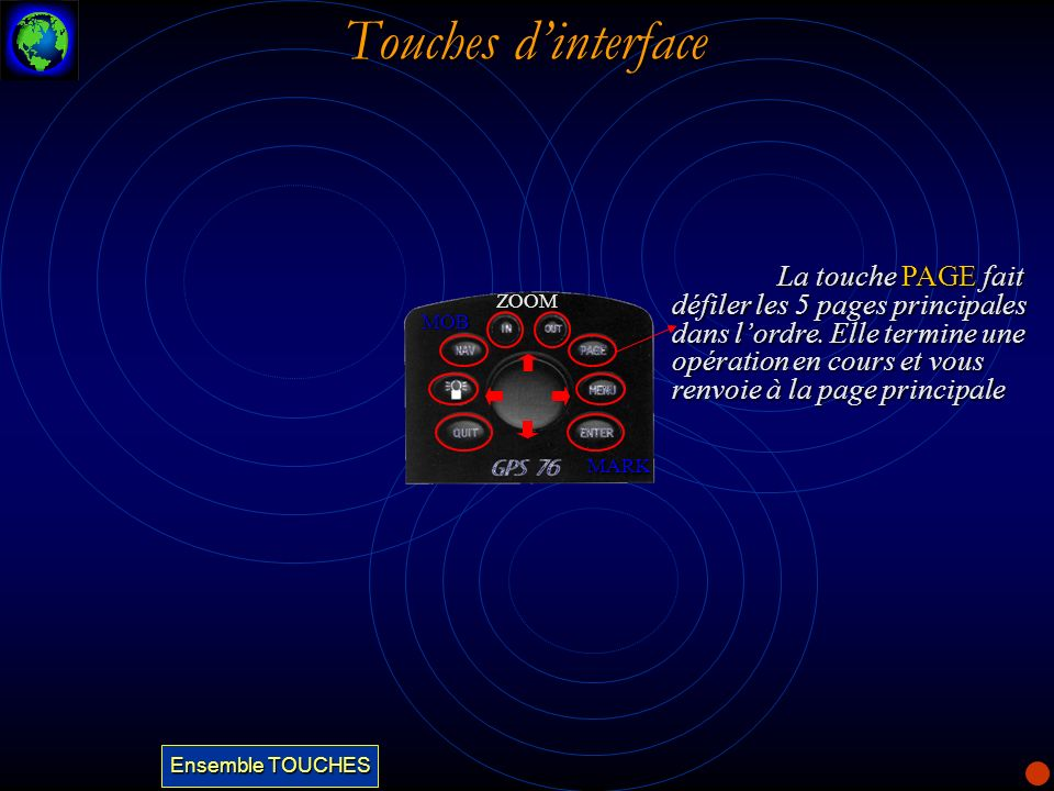 Touches dinterface La touche PAGE fait défiler les 5 pages principales dans lordre. Elle termine une opération en cours et vous renvoie à la page prin