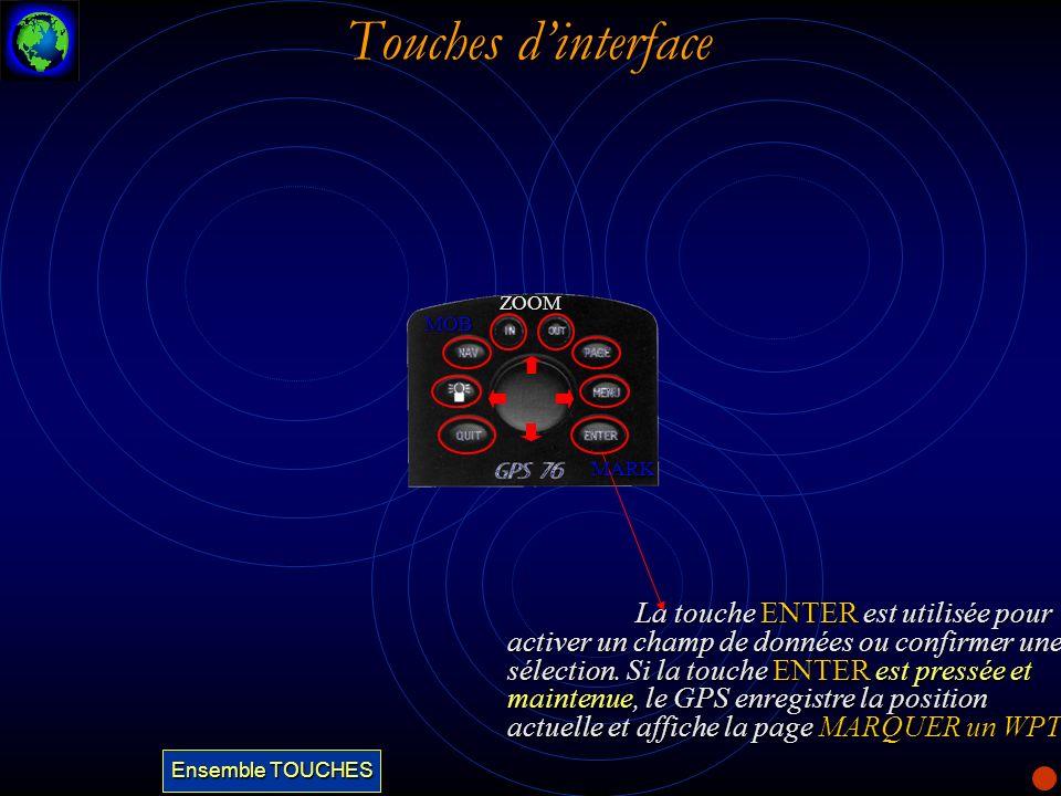Touches dinterface La touche QUIT fait défiler les cinq pages principales dans lordre inverse.