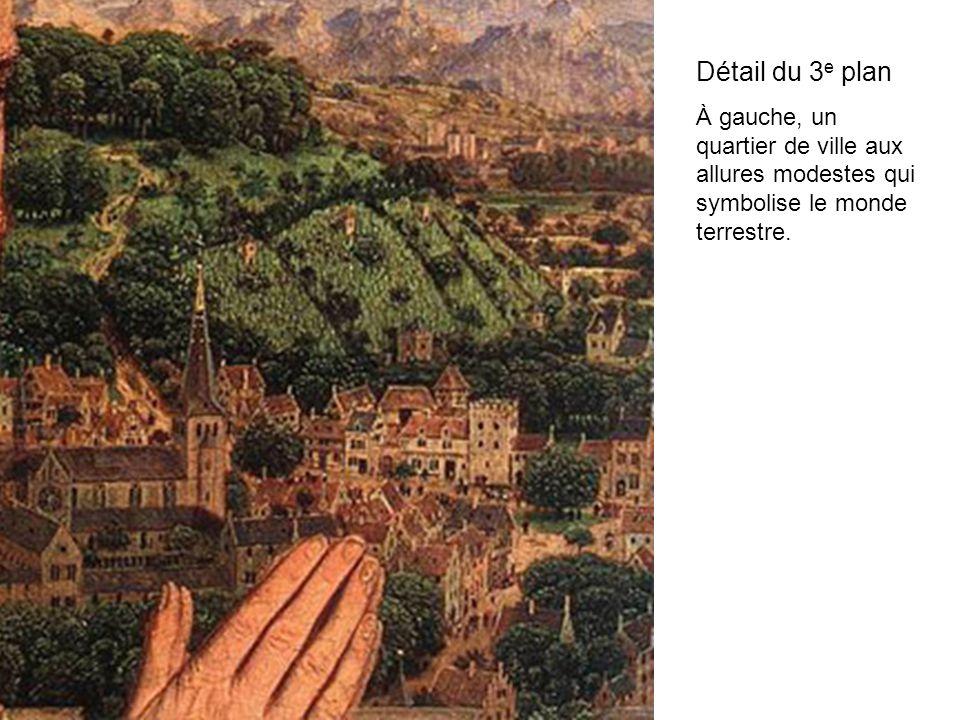 Détail du 3 e plan À gauche, un quartier de ville aux allures modestes qui symbolise le monde terrestre.