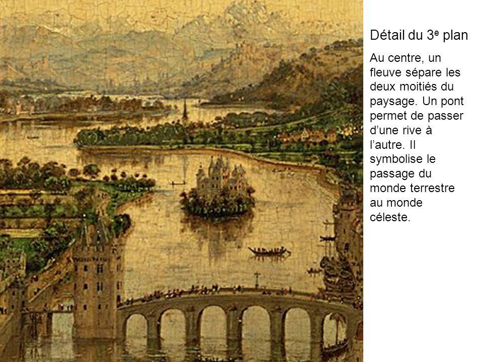 Détail du 3 e plan Au centre, un fleuve sépare les deux moitiés du paysage. Un pont permet de passer dune rive à lautre. Il symbolise le passage du mo