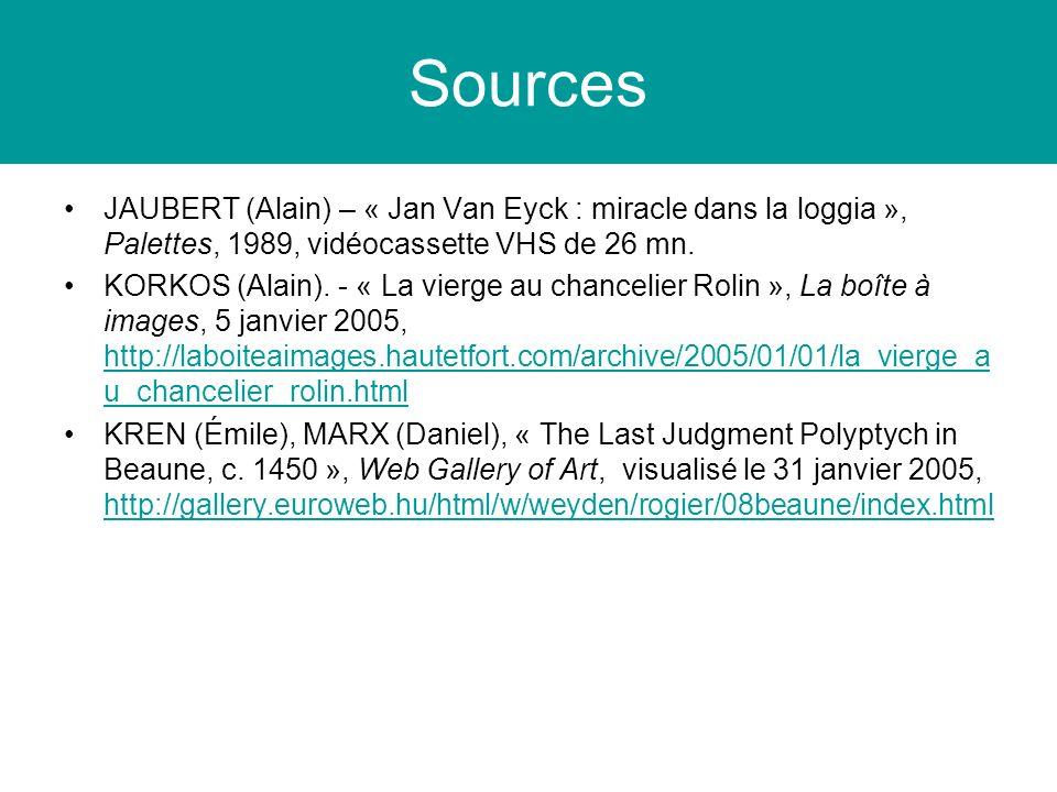 Sources JAUBERT (Alain) – « Jan Van Eyck : miracle dans la loggia », Palettes, 1989, vidéocassette VHS de 26 mn. KORKOS (Alain). - « La vierge au chan