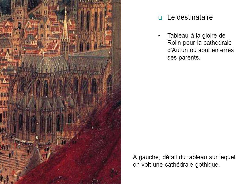 Le destinataire Tableau à la gloire de Rolin pour la cathédrale dAutun où sont enterrés ses parents. À gauche, détail du tableau sur lequel on voit un