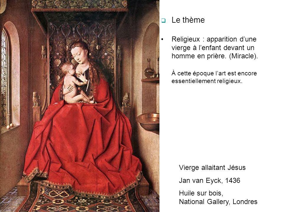 A gauche : le chancelier Rolin, richement vêtu, est en prière à genoux sur un prie-dieu, mains jointes au dessus dun livre religieux (livre dheures)