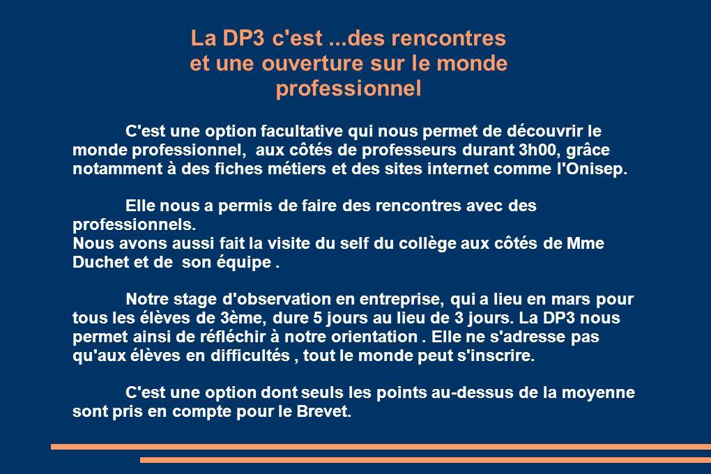 La DP3 c'est...des rencontres et une ouverture sur le monde professionnel C'est une option facultative qui nous permet de découvrir le monde professio