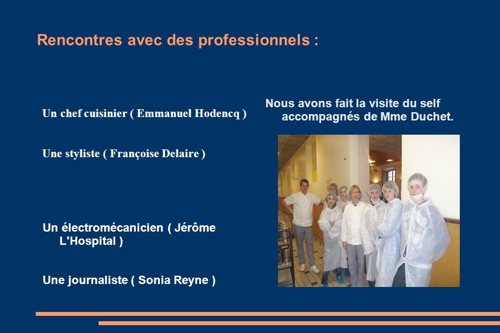 Rencontres avec des professionnels : Un chef cuisinier ( Emmanuel Hodencq ) Une styliste ( Françoise Delaire ) Un électromécanicien ( Jérôme L'Hospita