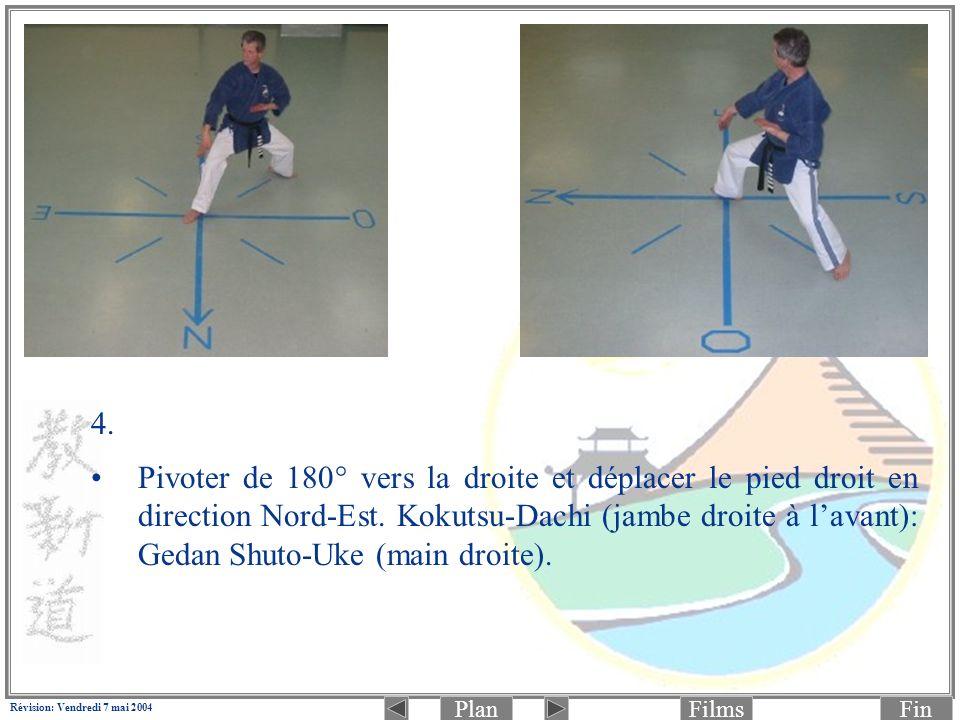 PlanFinFilms Révision: Vendredi 7 mai 2004 4. Pivoter de 180° vers la droite et déplacer le pied droit en direction Nord-Est. Kokutsu-Dachi (jambe dro