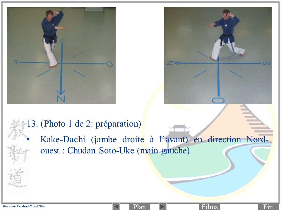 PlanFinFilms Révision: Vendredi 7 mai 2004 13. (Photo 1 de 2: préparation) Kake-Dachi (jambe droite à lavant) en direction Nord- ouest : Chudan Soto-U