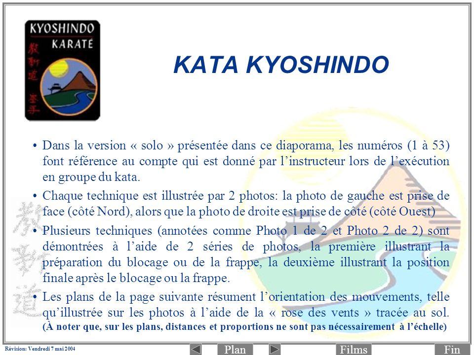 PlanFinFilms Révision: Vendredi 7 mai 2004 KATA KYOSHINDO Dans la version « solo » présentée dans ce diaporama, les numéros (1 à 53) font référence au compte qui est donné par linstructeur lors de lexécution en groupe du kata.