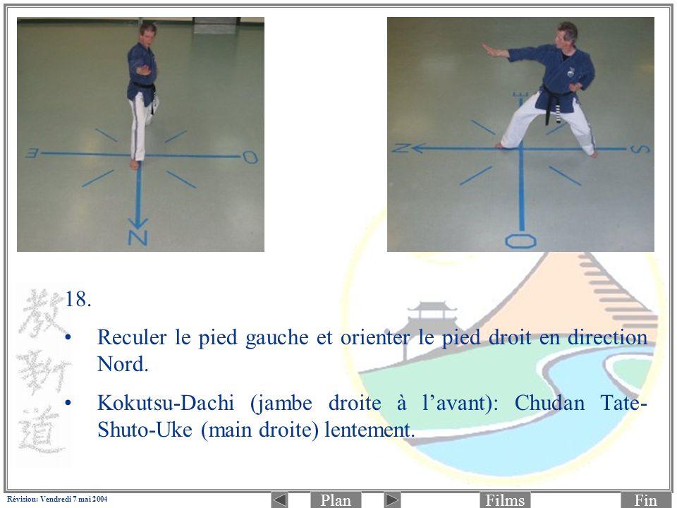 PlanFinFilms Révision: Vendredi 7 mai 2004 18. Reculer le pied gauche et orienter le pied droit en direction Nord. Kokutsu-Dachi (jambe droite à lavan