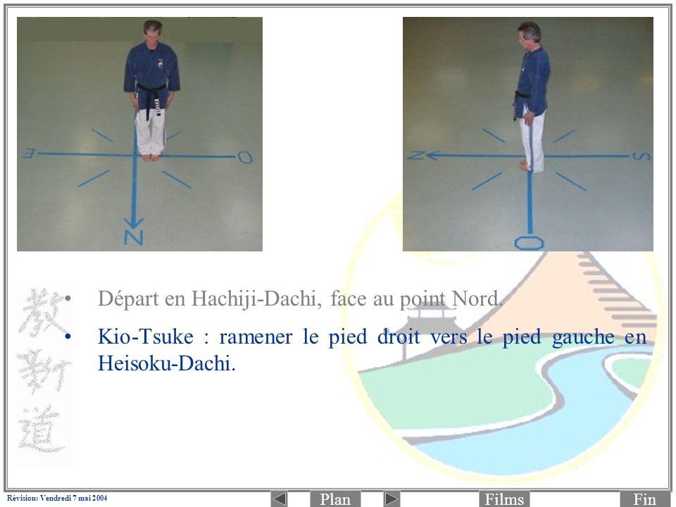 PlanFinFilms Révision: Vendredi 7 mai 2004 6.(Photo 1 de 2: préparation) Déplacer la jambe droite pour passer en Zenkutsu-Dachi (jambe droite à lavant): Jodan Rio-Mawashi-Tettsui-Zuki (aux tempes) en même temps.