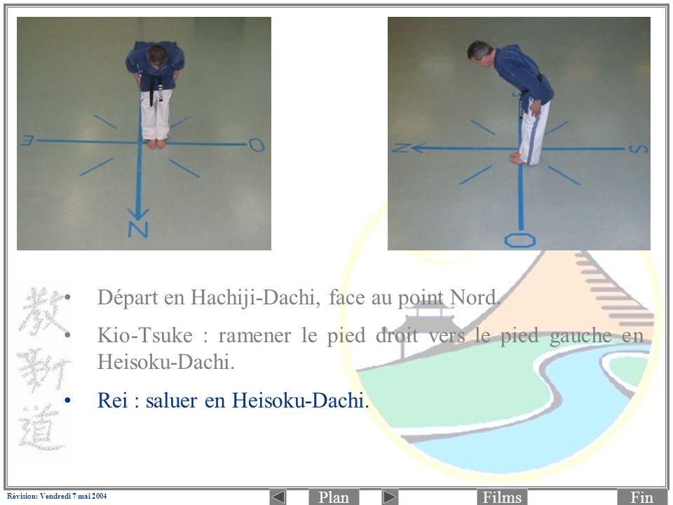 PlanFinFilms Révision: Vendredi 7 mai 2004 6.(Photo 2 de 2: frappe) Déplacer la jambe droite pour passer en Zenkutsu-Dachi (jambe droite à lavant): Jodan Rio-Mawashi-Tettsui-Zuki (aux tempes) en même temps.