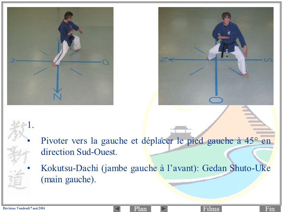 PlanFinFilms Révision: Vendredi 7 mai 2004 2.(Photo 1 de 2: préparation à la frappe) Faire Yori-Ashi (pas glissé) en Kiba-Dachi (jambe gauche à lavant) vers Sud-Ouest: Jodan Age-Uke (main gauche) et Chudan Kagi-Zuki (main droite) en même temps.