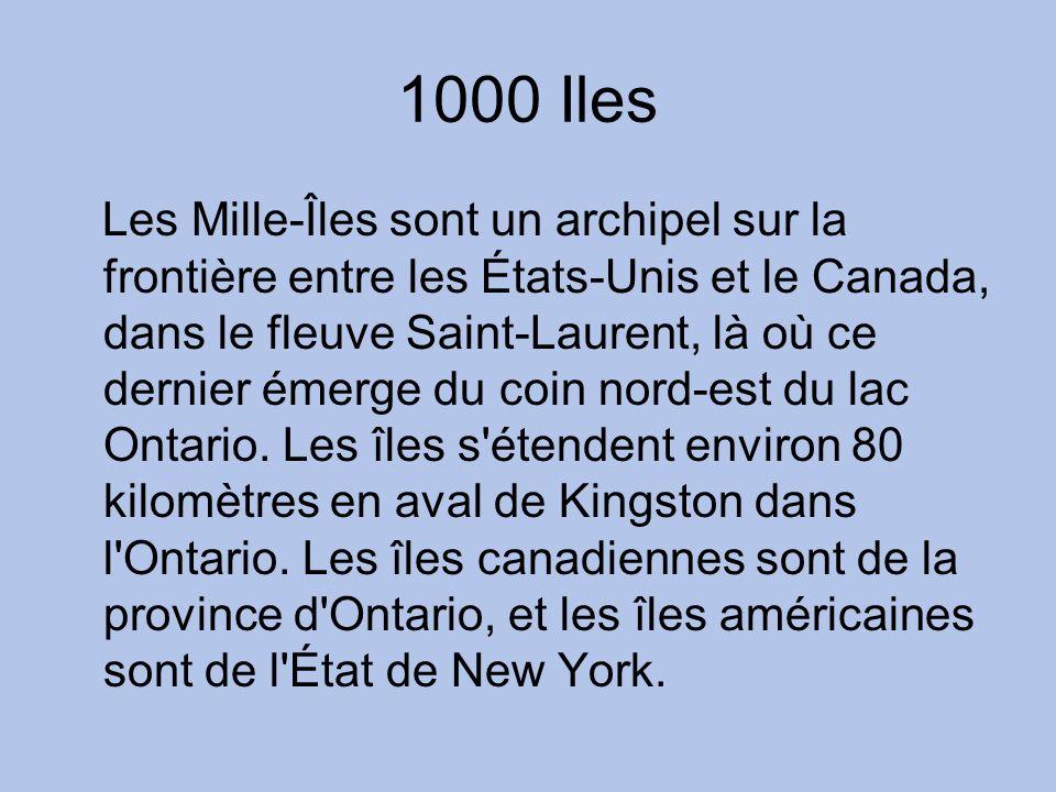 1000 Iles Les Mille-Îles sont un archipel sur la frontière entre les États-Unis et le Canada, dans le fleuve Saint-Laurent, là où ce dernier émerge du coin nord-est du lac Ontario.