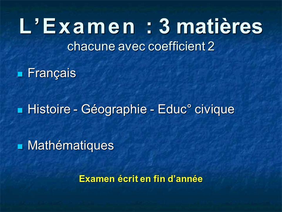 LExamen : 3 matières chacune avec coefficient 2 Français Français Histoire - Géographie - Educ° civique Histoire - Géographie - Educ° civique Mathémat