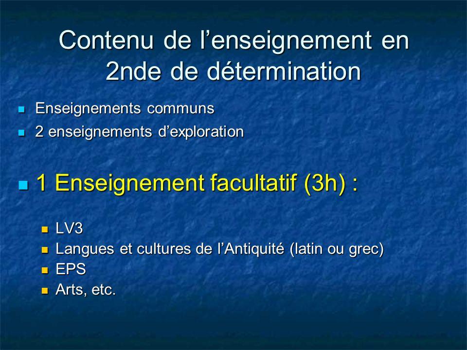 Contenu de lenseignement en 2nde de détermination Enseignements communs Enseignements communs 2 enseignements dexploration 2 enseignements dexploratio