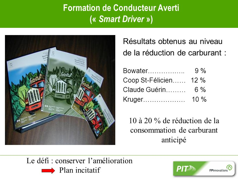 Formation de Conducteur Averti (« Smart Driver ») Résultats obtenus au niveau de la réduction de carburant : Bowater……………..