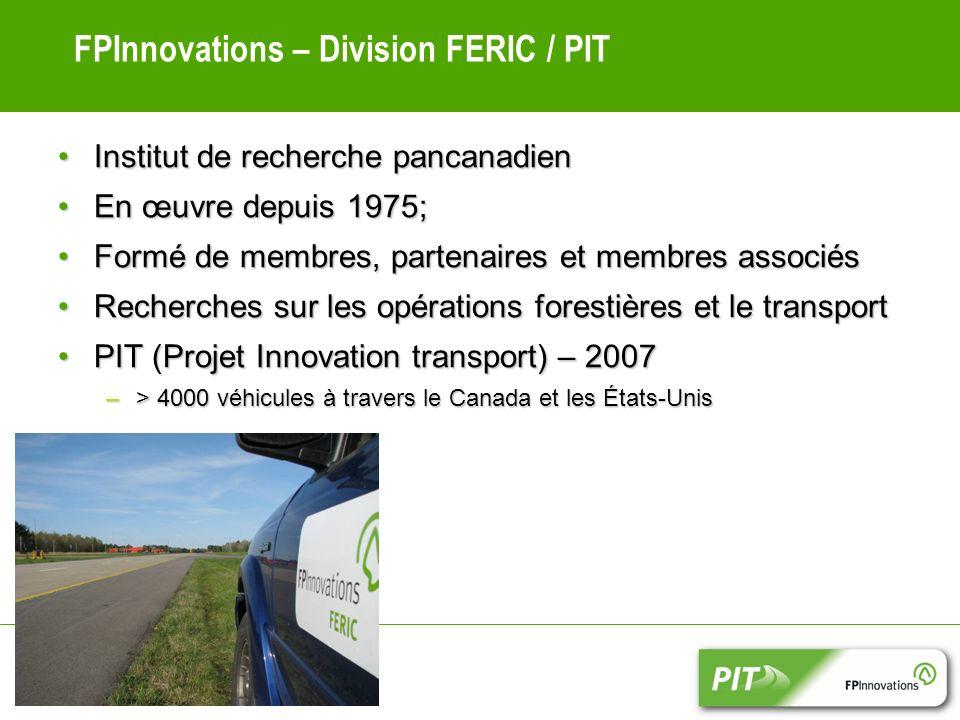 FPInnovations – Division FERIC / PIT Institut de recherche pancanadienInstitut de recherche pancanadien En œuvre depuis 1975;En œuvre depuis 1975; Formé de membres, partenaires et membres associésFormé de membres, partenaires et membres associés Recherches sur les opérations forestières et le transportRecherches sur les opérations forestières et le transport PIT (Projet Innovation transport) – 2007PIT (Projet Innovation transport) – 2007 –> 4000 véhicules à travers le Canada et les États-Unis