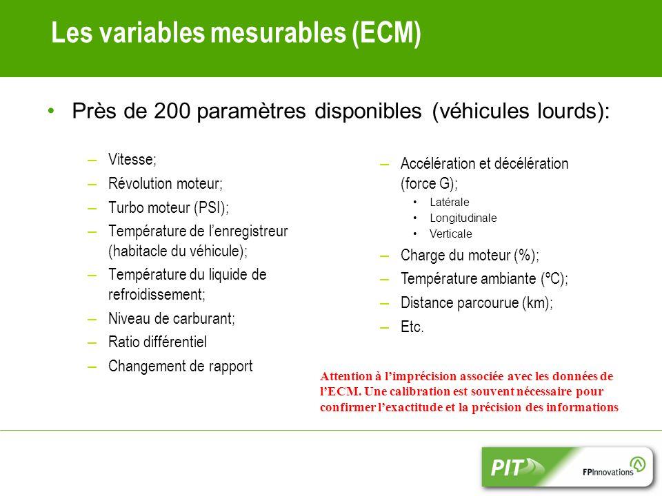 Les variables mesurables (ECM) – Vitesse; – Révolution moteur; – Turbo moteur (PSI); – Température de lenregistreur (habitacle du véhicule); – Température du liquide de refroidissement; – Niveau de carburant; – Ratio différentiel – Changement de rapport – Accélération et décélération (force G); Latérale Longitudinale Verticale – Charge du moteur (%); – Température ambiante (ºC); – Distance parcourue (km); – Etc.