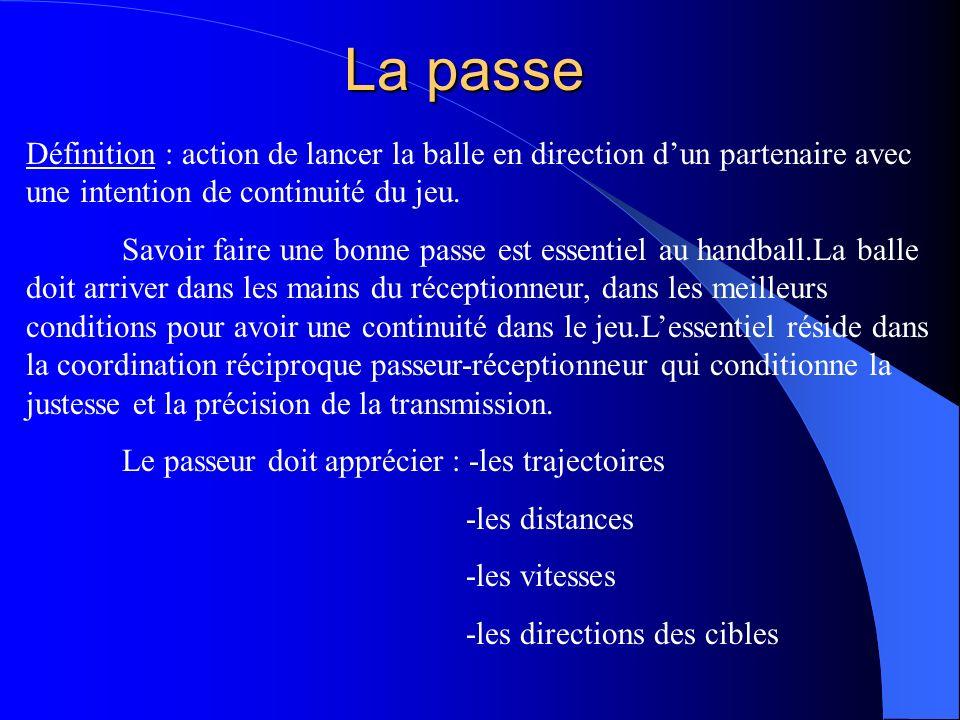 La passe Définition : action de lancer la balle en direction dun partenaire avec une intention de continuité du jeu. Savoir faire une bonne passe est