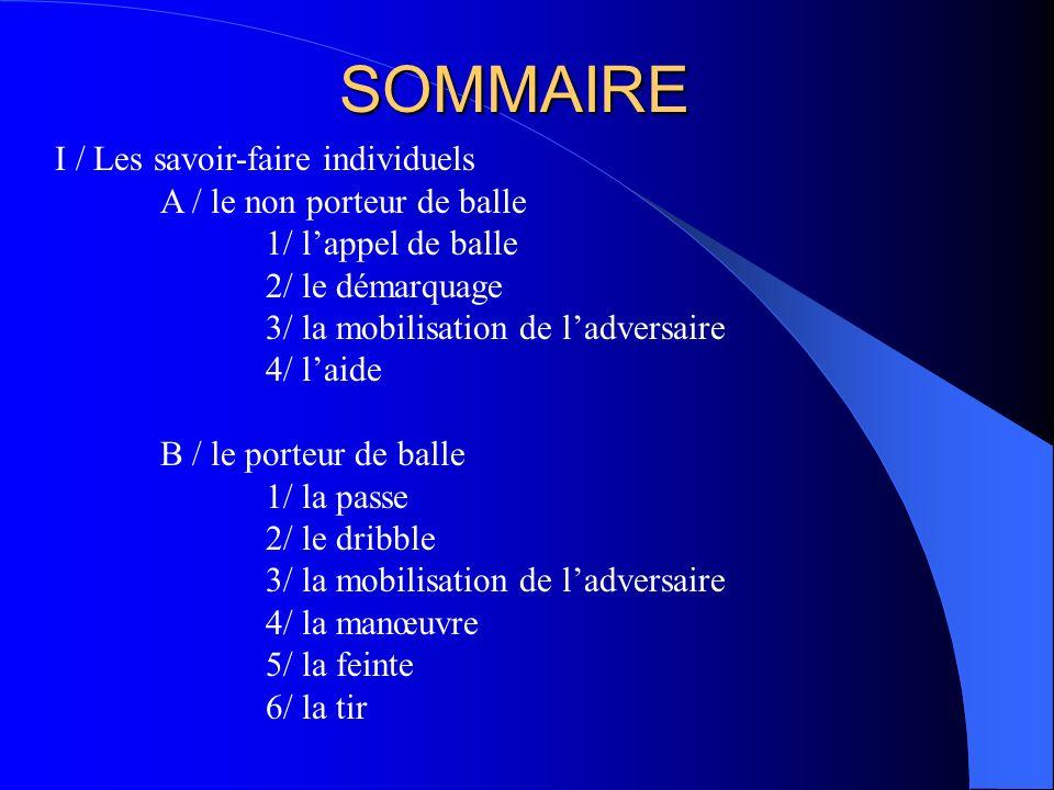 SOMMAIRE I / Les savoir-faire individuels A / le non porteur de balle 1/ lappel de balle 2/ le démarquage 3/ la mobilisation de ladversaire 4/ laide B