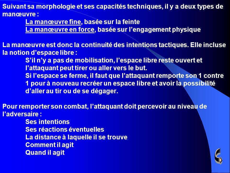 Suivant sa morphologie et ses capacités techniques, il y a deux types de manœuvre : La manœuvre fine, basée sur la feinte La manœuvre en force, basée