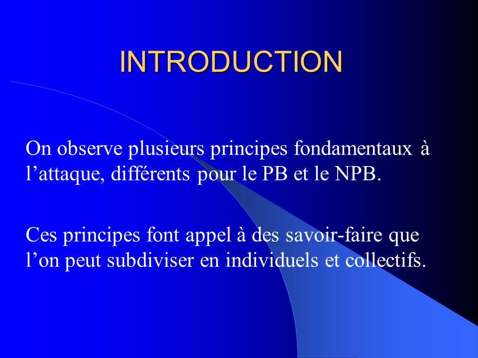 On observe plusieurs principes fondamentaux à lattaque, différents pour le PB et le NPB. Ces principes font appel à des savoir-faire que lon peut subd