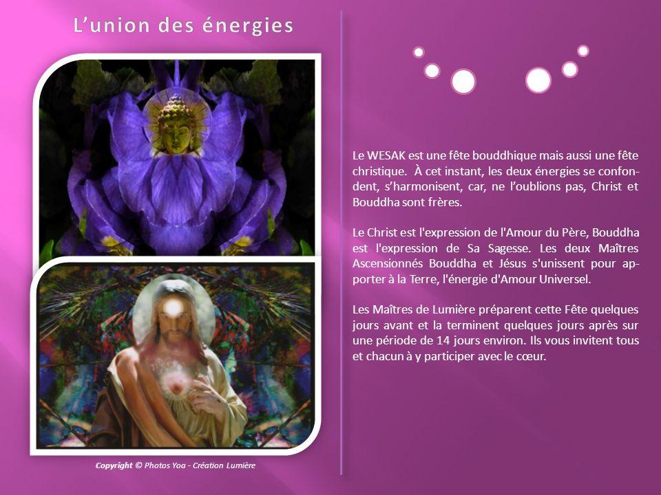 Le WESAK a lieu à la pleine lune du Taureau. On dit que le Bouddha, écoutant sa grande compassion pour lhumanité, quitte une fois par an sa demeure su