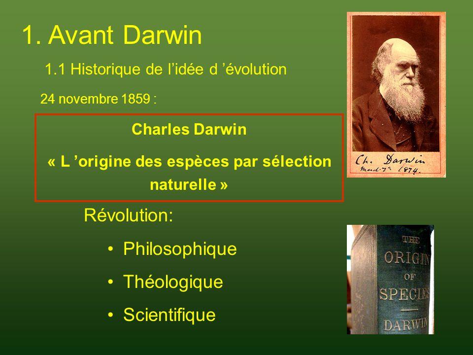1.2 Le lamarckisme Jean-Baptiste Monet, Chevalier de Lamarck (1744-1829) 1809 : « Philosophie zoologique » Les espèces se transforment en se complexifiant continuellement (forment des lignées visibles dans les fossiles) Des organismes simples se forment sans arrêt par génération spontanée