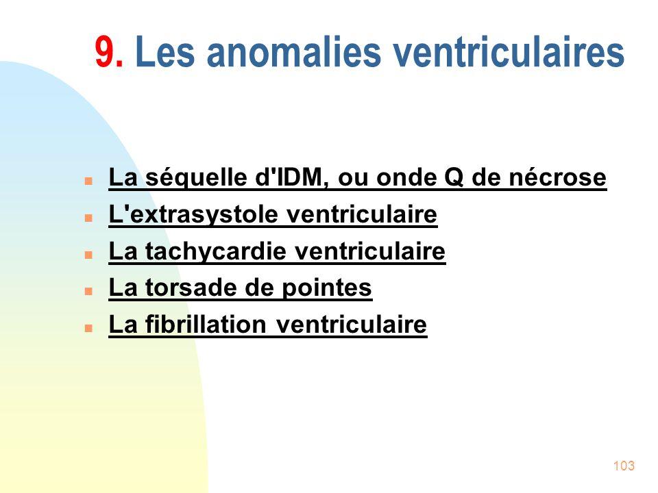 103 9. Les anomalies ventriculaires n La séquelle d'IDM, ou onde Q de nécrose n L'extrasystole ventriculaire n La tachycardie ventriculaire n La torsa
