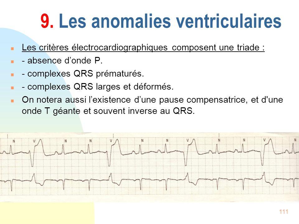 111 9. Les anomalies ventriculaires n Les critères électrocardiographiques composent une triade : n - absence donde P. n - complexes QRS prématurés. n