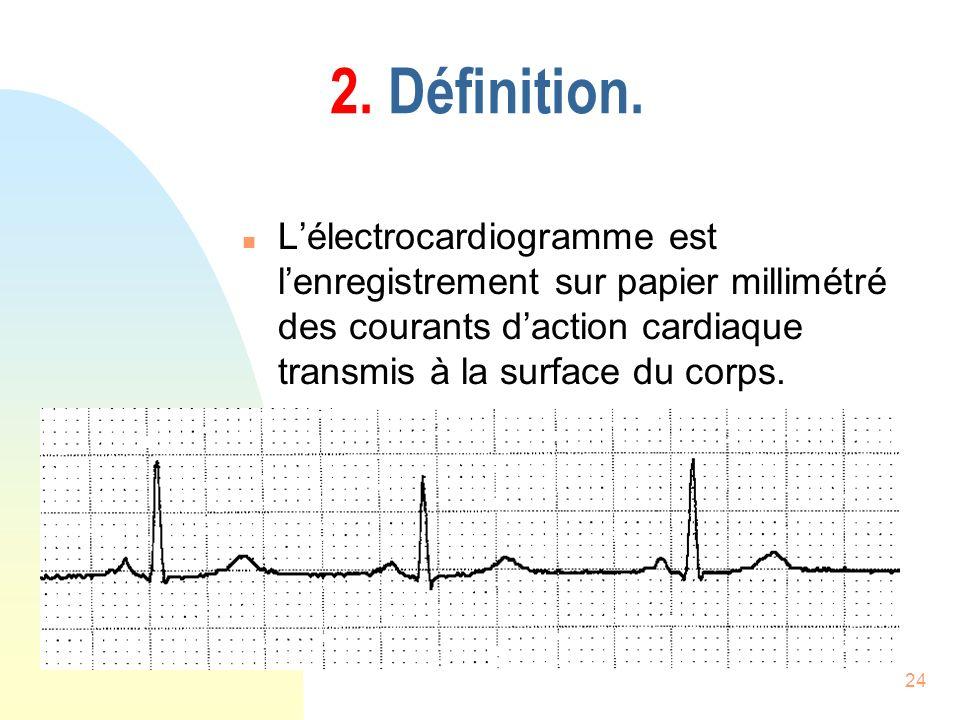 24 2. Définition. n Lélectrocardiogramme est lenregistrement sur papier millimétré des courants daction cardiaque transmis à la surface du corps.