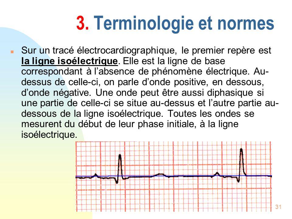 31 3. Terminologie et normes n Sur un tracé électrocardiographique, le premier repère est la ligne isoélectrique. Elle est la ligne de base correspond