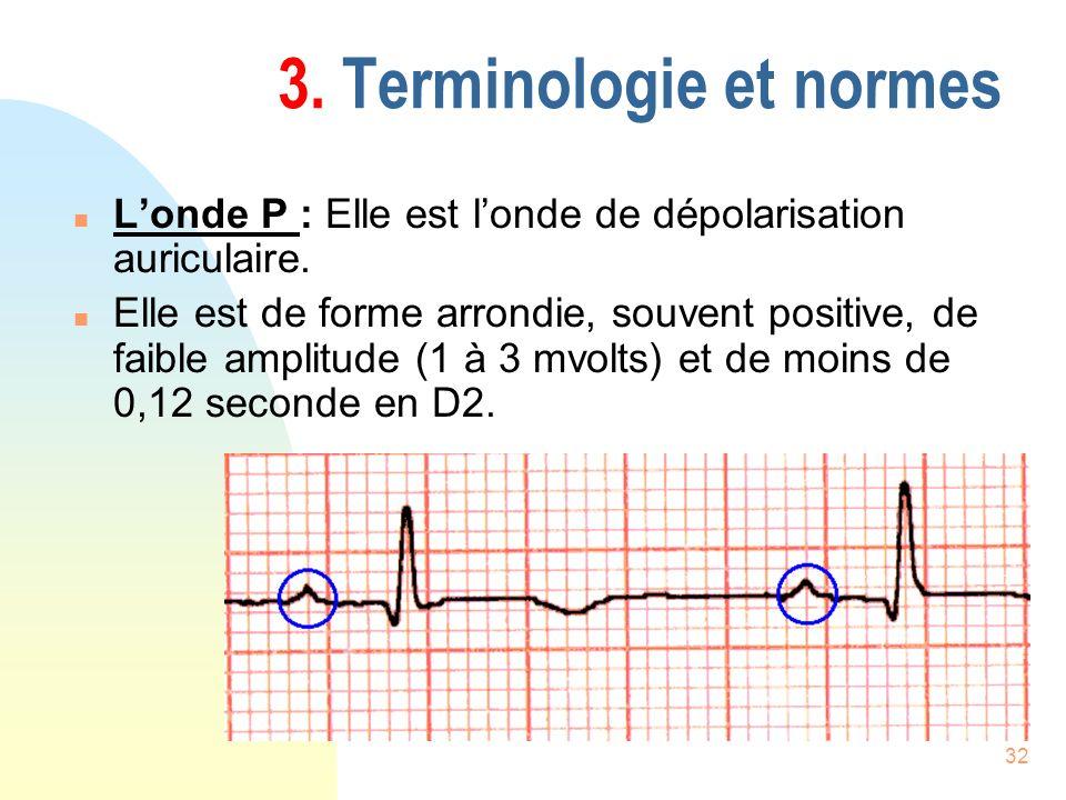 32 3. Terminologie et normes n Londe P : Elle est londe de dépolarisation auriculaire. n Elle est de forme arrondie, souvent positive, de faible ampli