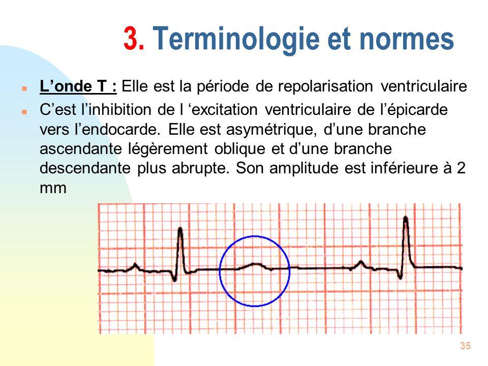 35 3. Terminologie et normes n Londe T : Elle est la période de repolarisation ventriculaire n Cest linhibition de l excitation ventriculaire de lépic